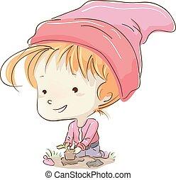 Kid Girl Gnome Planting
