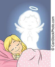 Kid Girl Guardian Angel Peaceful Sleep - Illustration of a...