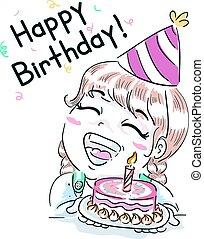 Kid Girl Happy Birthday Cake