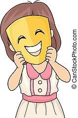 Kid Girl Happy Mask Illustration