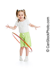 kid girl having fun with  hoop isolated