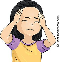 Kid Girl Headache Illustration