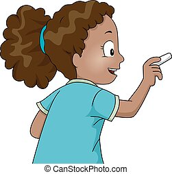 Kid Girl Hold Chalk Write - Illustration of a Little African...