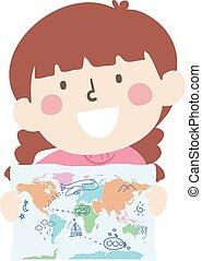 Kid Girl Hold Map Doodle Illustration