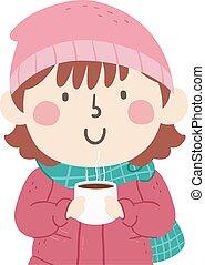 Kid Girl Hot Chocolate Illustration