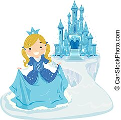 Illustration of a Kid Girl Ice Princess Wearing Gown and Crown In Front of an Ice Castle