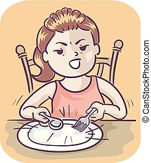 Illustration of a Kid Girl Banging Her Spoon and Fork on Her Plate, Impatiently Waiting for Her Meal