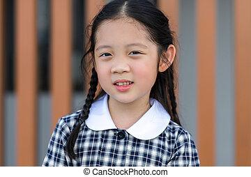 Kid, Girl, in School Uniform