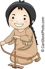 Kid Girl Indian Make Fire Illustration
