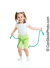 kid girl jumping with  rope isolated