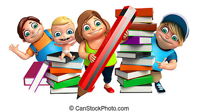 kid girl, kid boy and cute baby with Book stack and pencil