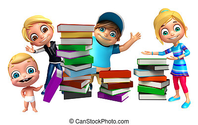 kid girl, kid boy and cute baby with Book stack