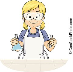 Kid Girl Lab Experiment