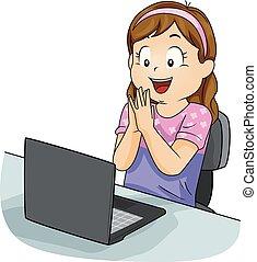 Kid Girl Laptop Learn Happy Illustration