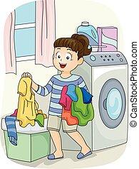 Kid Girl Laundry Hamper - Illustration of a Little Girl...