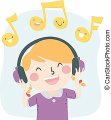 Kid Girl Listen Music Happy Illustration