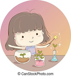 Kid Girl Magic Plant Experiment Illustration
