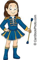 Kid Girl Majorette Illustration