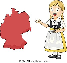 Kid Girl Map Germany Illustration