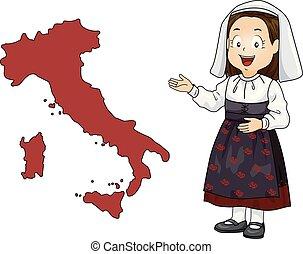 Kid Girl Map Italy Illustration