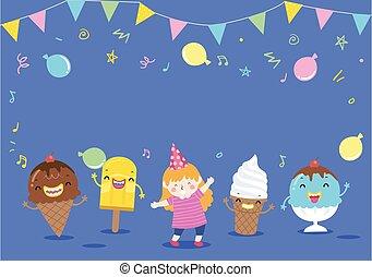 Kid Girl Mascot Ice Cream Party Illustration