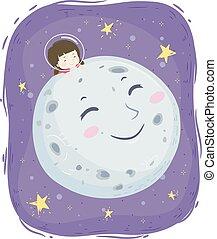 Kid Girl Mascot Moon Space Illustration
