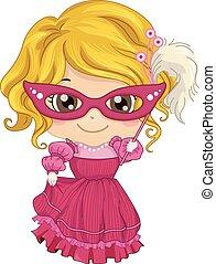 Kid Girl Masquerade Costume - Illustration of a Little Girl...