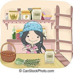 Kid Girl Mixing Herb