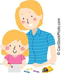 Kid Girl Mom Draw Illustration