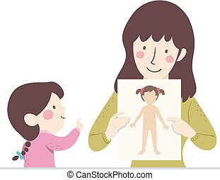 Kid Girl Mom Female Parts Illustration
