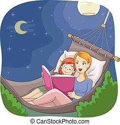 Kid Girl Mom Hammock Read Story Book Night - Illustration of...