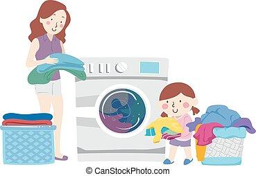 Kid Girl Mom Help Washing Clothes Illustration