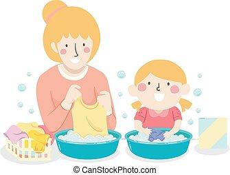Kid Girl Mom Teach Wash Clothes Illustration