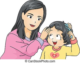 Kid Girl Mom Toddler Teach How To Comb Hair
