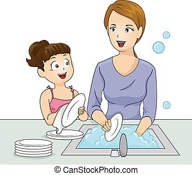 Kid Girl Mom Wash Dishes - Illustration of a Little Girl and...
