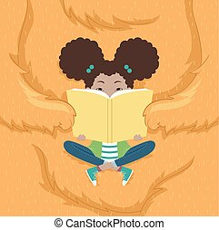 Kid Girl Monster Book Illustration