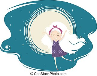 Kid Girl Moon Illustration - Illustration of a Kid Girl with...