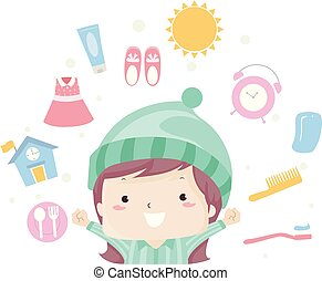 Kid Girl Morning Routine Illustration - Illustration of a...