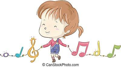 Kid Girl Music Notes Mascot Illustration