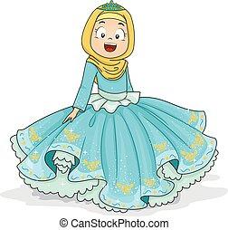 Kid Girl Muslim Princess Illustration