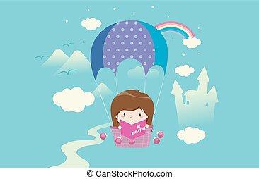 Kid Girl My Adventure Book Illustration