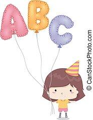 Kid Girl Mylar Balloon Illustration