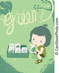 Kid Girl Nature Color Hunt Green Illustration