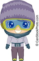 Kid Girl North Pole Marathon Outfit Illustration -...