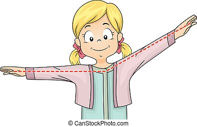 Kid Girl Obtuse Angle Pose - Illustration of a Little Girl...