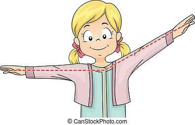 Illustration of a Little Girl Gesturing an Obtuse Angle