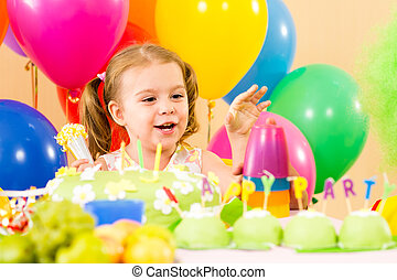 kid girl on party birthday