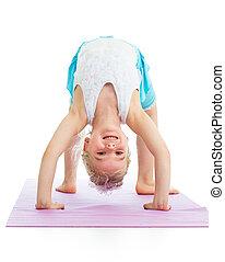 kid girl on yoga