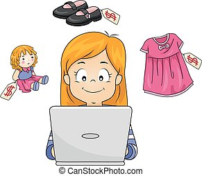 Kid Girl Online Shopping Illustration