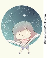 Kid Girl Open Book Outer Space